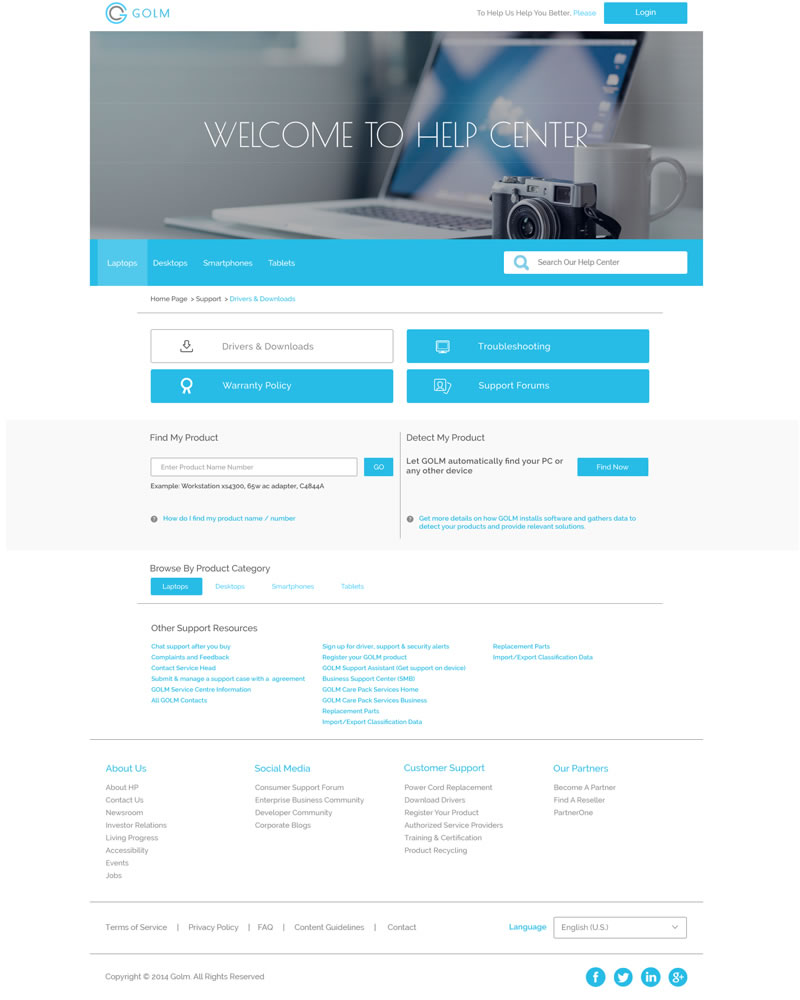 Golm Zendesk Theme Section page Template - Showing Drivers Software Download example