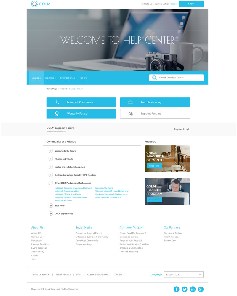 Golm Zendesk Theme Community Template - Showing Community page