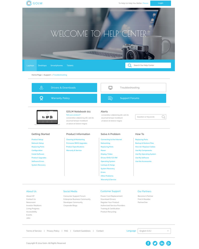 Golm Zendesk Theme Section page Template - Showing Software Troubleshooting example