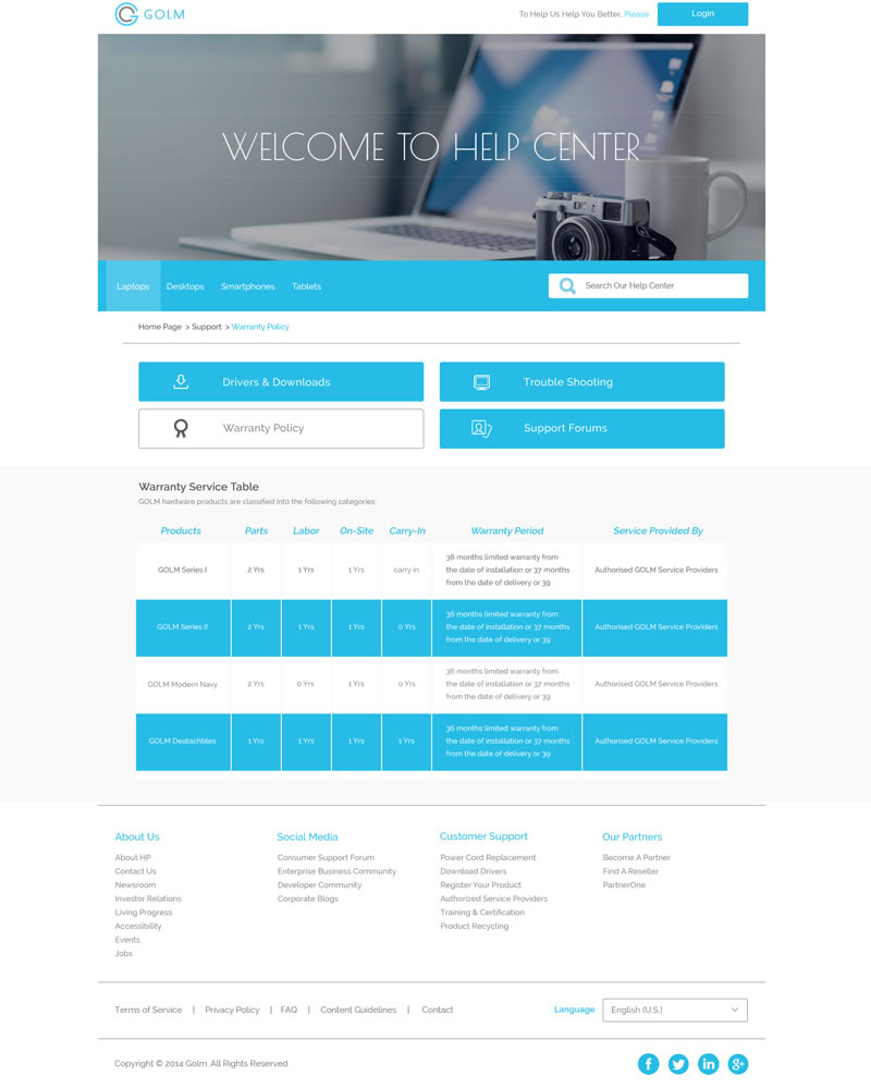 Golm Zendesk Theme Section page Template - Showing Warranty example page