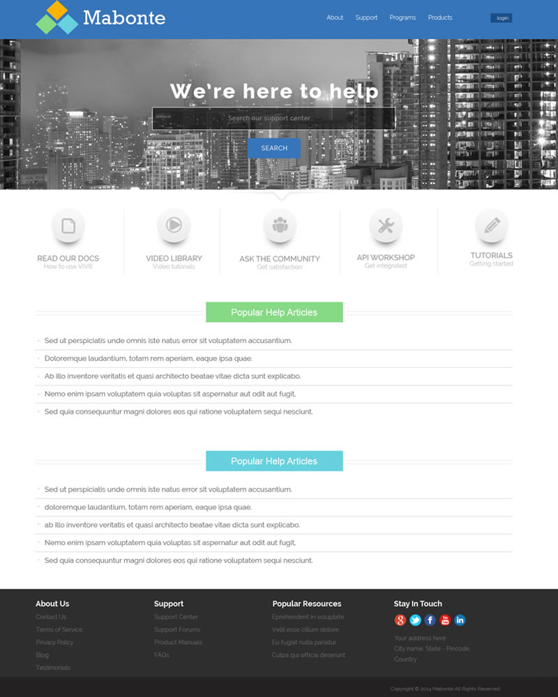 Mabonte Zendesk Theme Home Page Template
